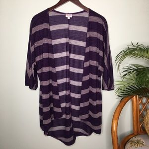 LuLaRoe Lindsay Sheer Purple Stripe Kimono Small